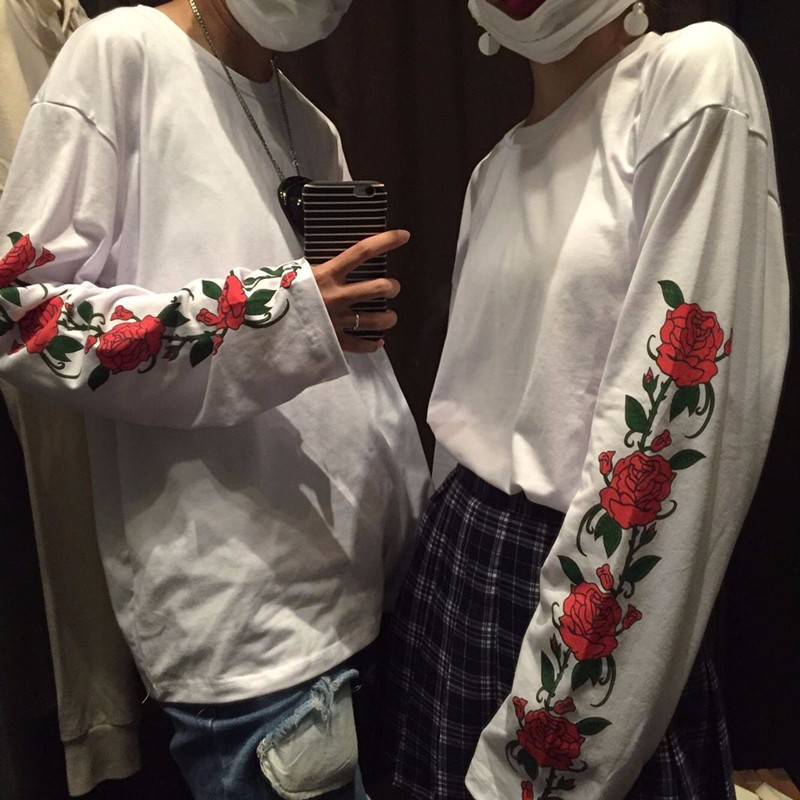 HTB1OOItNVXXXXbsXFXXq6xXFXXXu - Long sleeve T-shirt men women print flower rose white
