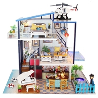 Doll House Miniature with Furnitures Wooden Diy Doll House Creative Handmade Villa Model Building Toy