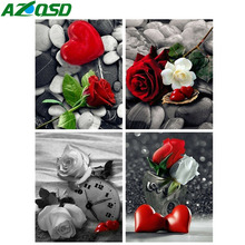 AZQSD Diamond Painting Love Heart Picture Of Rhinestones Embroidery Rose Flowers Mosaic Full Display Home Decor