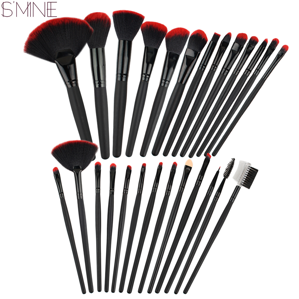 ISMINE 26 Pcs Makeup Brushes Cosmetic Set Powder Foundation Shadow Lip Liner Make Up Brush Beauty Tool makeup brushes set bob cosmetic makeup powder w puff mirror ivory white 02