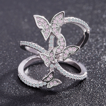 Butterfly Crystal Zircon Wings Ring for Women Love Jewelry Girls Trendy Wedding Bands
