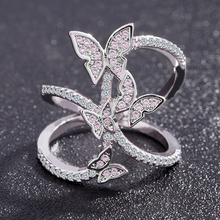 Butterfly Crystal Zircon Wings Ring for Women Love Jewelry Girls Trendy Wedding Bands Fashion Party Rings Jewelry US Size 6-10