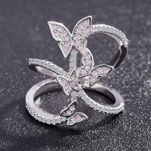 Butterfly Crystal Zircon Wings Ring for Women Love Jewelry Girls Trendy Wedding Bands Fashion Party Rings Jewelry US Size 6-10(China)