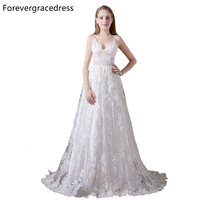 Forevergracedress Elegant Backless Wedding Dress A Line Lace Sleeveless Long Bridal Gown Plus Size Custom Made