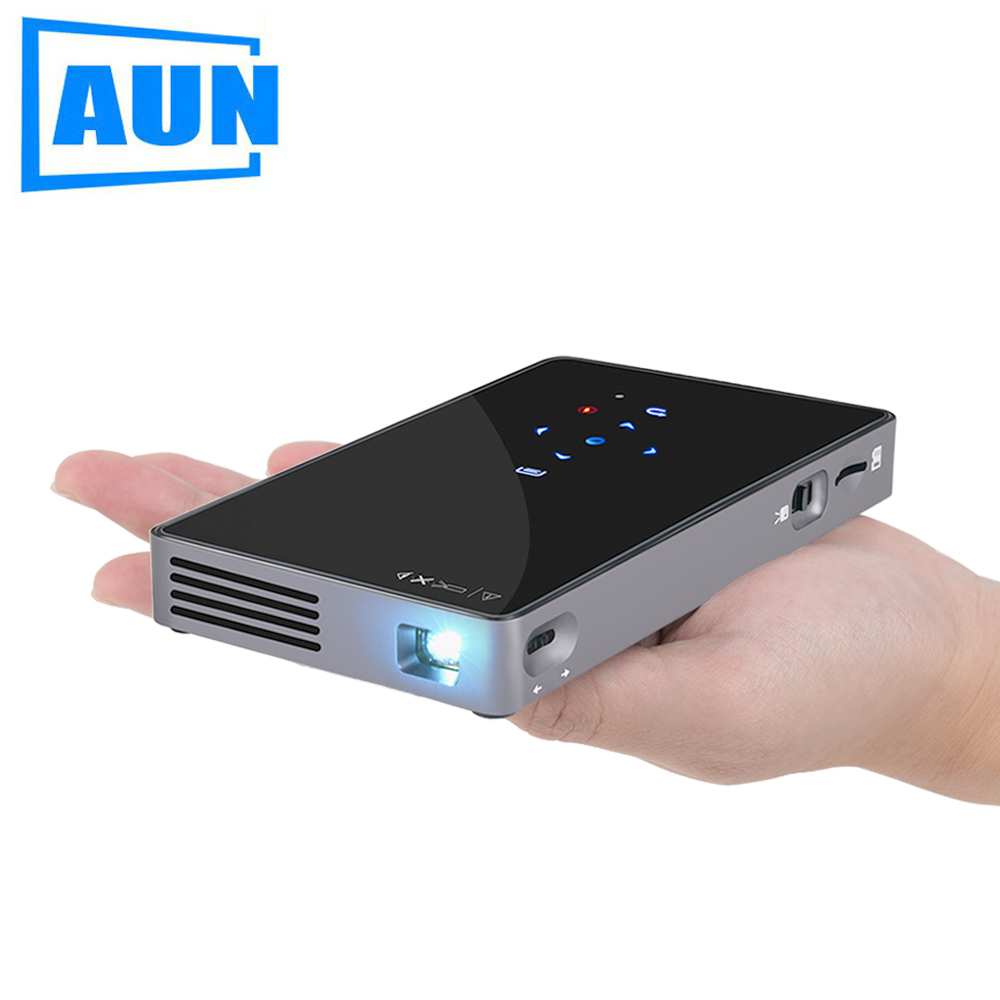 AUN Android 7.1 DLP Projector D5S, Built-in WIFI, Bluetooth, 4,500mAH Battery (Optional D5 Portable Projector) Home Cinema aun new hd projector support wifi bluetooth built in android os 4 2 system 3d projector for home cinema led projector v5g5