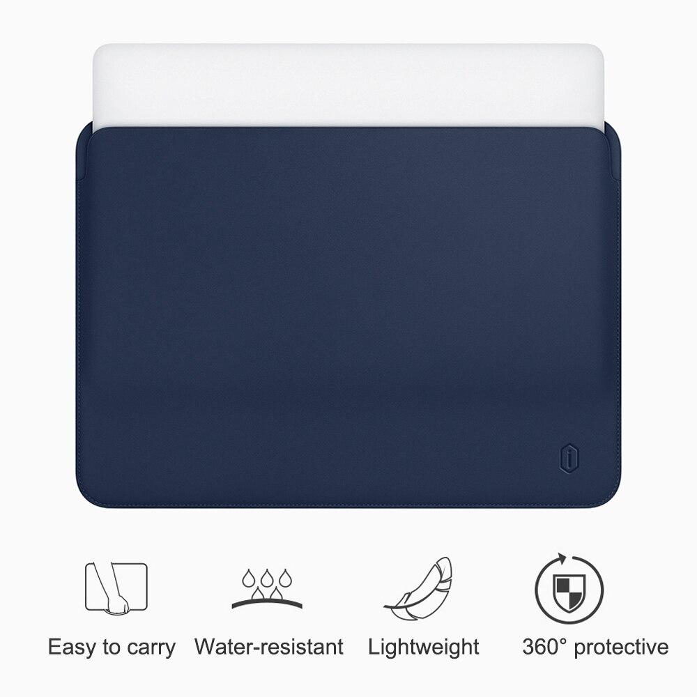 Luva Do Portátil para MacBook Air 13 WiWU polegada-resistente à Água PU Estojo De Couro para MacBook Pro 13 15 polegada ultra-fino Laptop Saco Caso