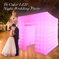 Protable Inflatable LED Photo Tent Inflatable Booth Tent Inflatable Wall Backdrop With Air Pump for Party Wedding 2.5*2.5*2.5M