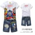 Дети Устанавливает Мультфильм Томас поезд моды костюм мальчиков шорты устанавливает футболку + Джинсы 2 шт. Детская Одежда MS3201 томас и его Друзья