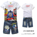 Crianças Conjuntos de Desenhos Animados Thomas train moda terno meninos calções sets t-shirt + Calça Jeans 2 pcs Crianças Roupas MS3201 Thomas e Amigos