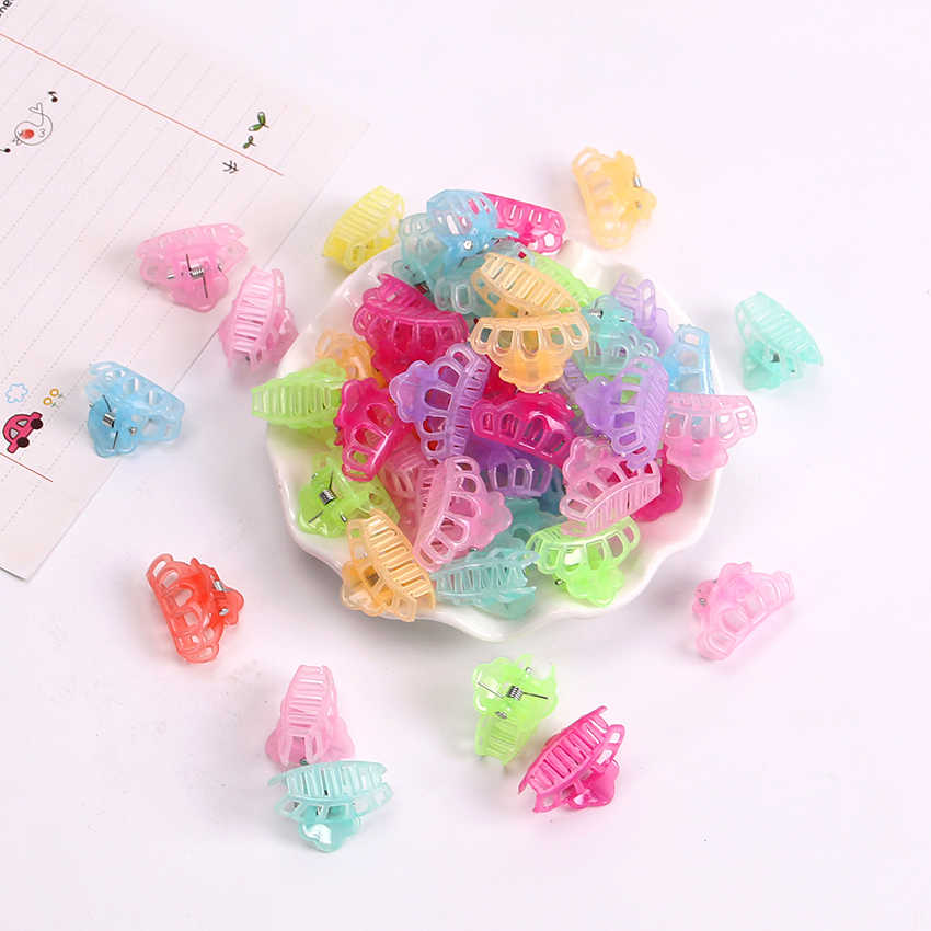 10PCS New Fashion Girls Small Hair Claw Cute Candy Color Crown Hair Jaw Clip Children Hairpin Hair Accessories