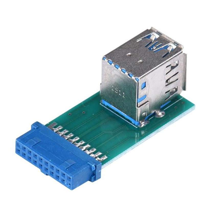 Motherboard 19Pin Header To 2 Ports USB 3.0 Type A Female Port HUB Adapter Jun22#2 19pin usb 3 0 female header to 9pin usb 2 0 male port converter card adapter hot