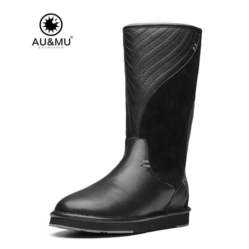 2017 AUMU Australia Shearling Wave Print Suede Pull On Thick Platfro Round Toe Rubber Soles Knee-high Snow Winter Boots UG N727 2017 aumu australia fashion mini
