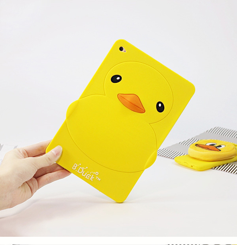 3D Cute Protective tablet Soft Silicone shockproof little yellow duck back Cover Case for Apple iPad mini 4 3 2 1 iPad Air air2 for ipad air 1 2 cute candy color soft silicone tablet case cover for ipad 5 6 mini 2 3 fashion slim lovely protective sleeve