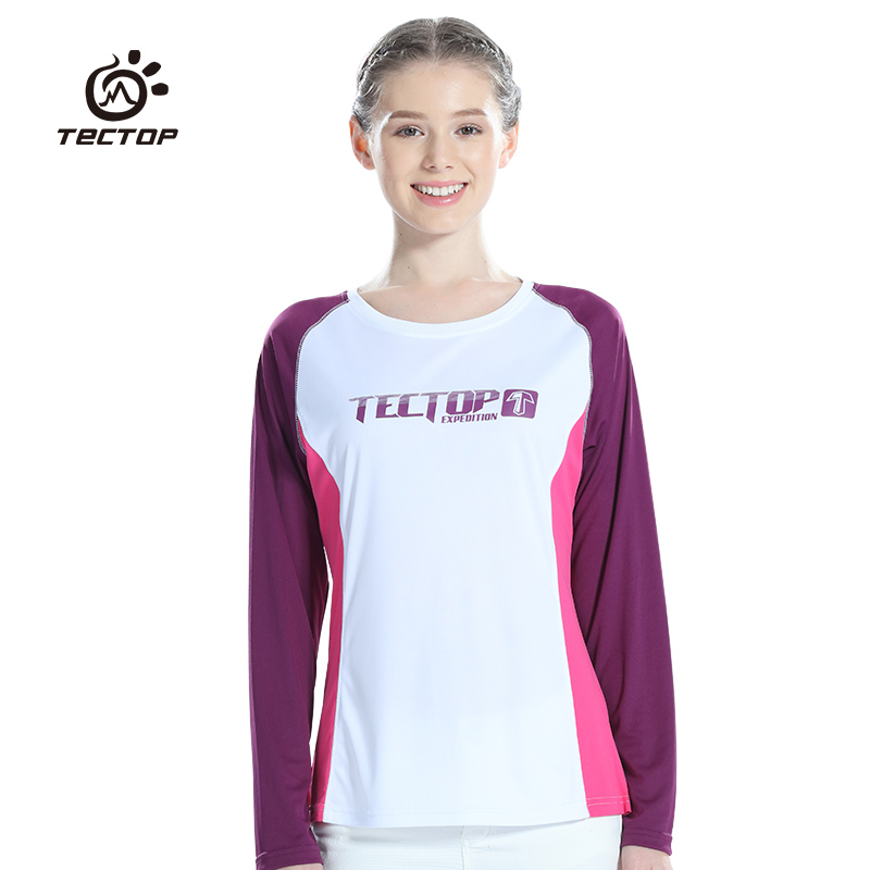 Round Long Breathable Tectop Women T-Shirts Outdoor Sport Camping Hiking T Shirt Quick Dry Female T-shirts Breathable Tees