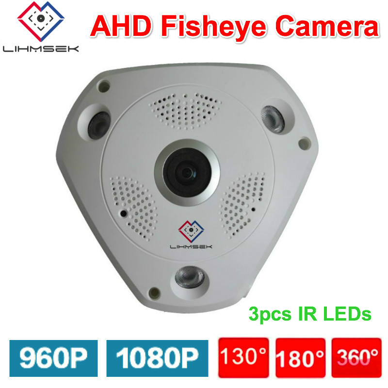 Lihmsek 1080P CCTV AHD Camera with Fisheye Panoramic Lens 130 180 360degree IR Night Vision 960P
