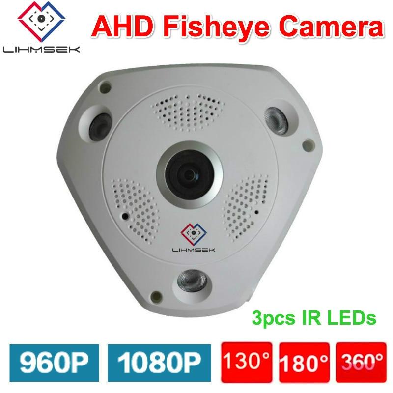 Lihmsek 1080 P CCTV AHD caméra avec Fisheye lentille panoramique 130 180 360 degrés IR Vision nocturne 960 P Fisheye caméra analogique CCTV Cam-in Caméras de surveillance from Sécurité et Protection on AliExpress - 11.11_Double 11_Singles' Day 1