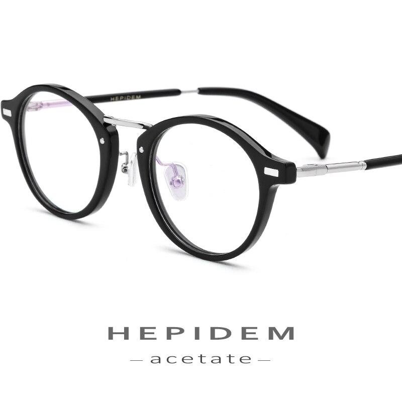 43db24df1a Acetato de gafas de marco de los hombres de Metal, pequeño redondo Vintage anteojos  recetados 2018 de las mujeres de la moda de la miopía gafas
