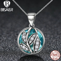 BISAER 925 Sterling Silver Office Style Link Chain Plant Leaves Green Transparent Glass Pendant Necklace Fashion