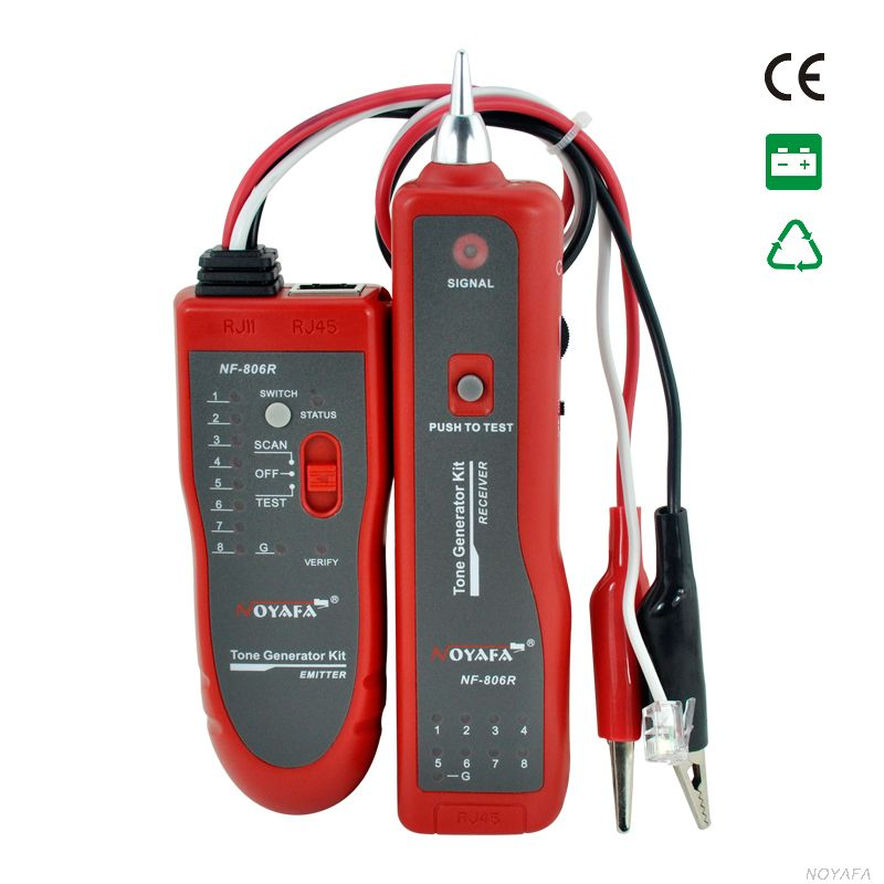 High Quality NF-806 Red color Network Cable fault locator Tester UTP STP RJ45 RJ11with Alligator Clip NF_806 cable tracker rj45 rj11with alligator clip pn fc