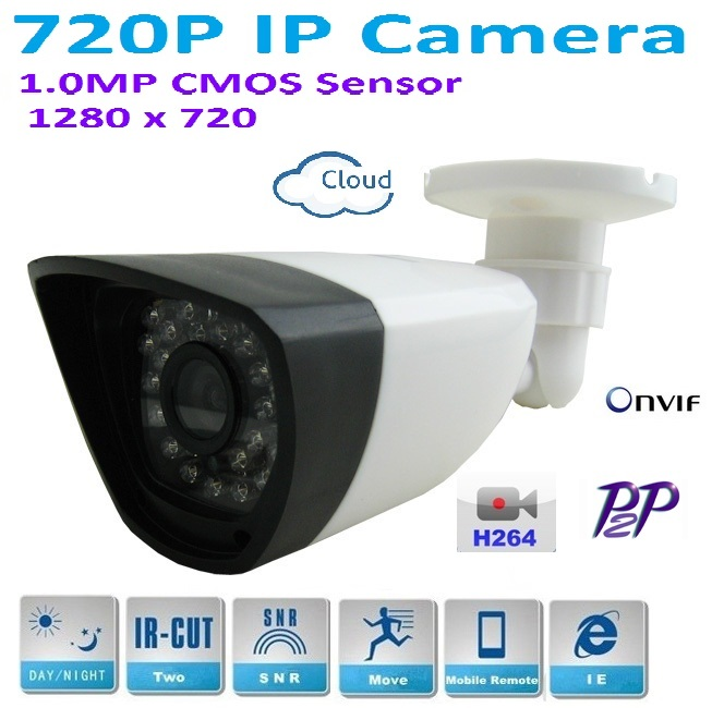 Newtype 1280*720P 1.0MP Mini Bullet 720P IP Camera ONVIF H.264 P2P Waterproof In/Outdoor IR-CUT Night Vision easy Plug and Play, 1280 720p 1 0mp 36pcs ir leds ip camera onvif 2 0 waterproof outdoor ir cut night vision p2p plug and play