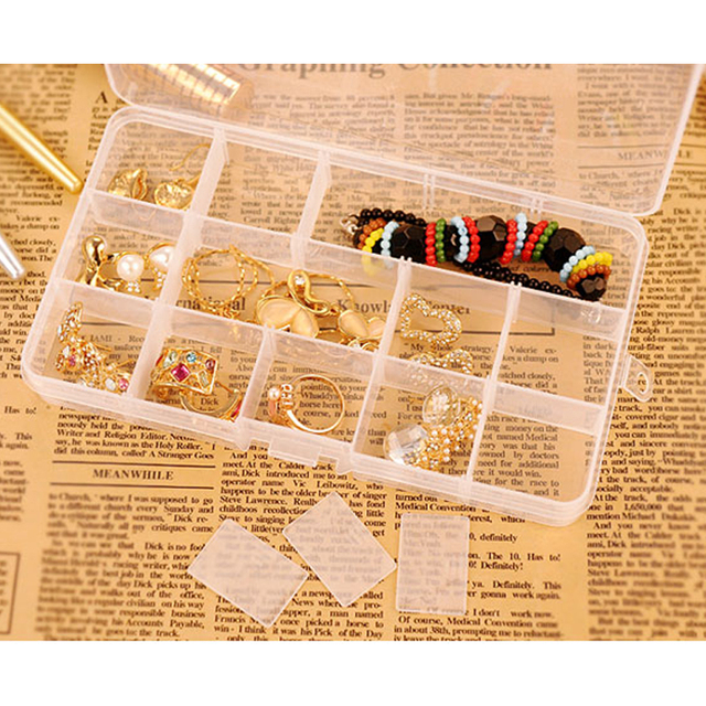10/15/24 Grids Compartments Jewellery Bead Earrings Rings Storage Box Case Organiser