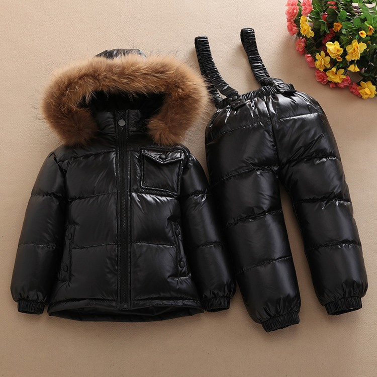 1-6 years Children's Clothing Winter Jacket For Girls Boys White Duck Down Jacket+Pants Suit Thick outerwear & coats Waterproof 3 10 years children girls winter down coats 80% duck down hooded long boys winter jacket kids outerwear