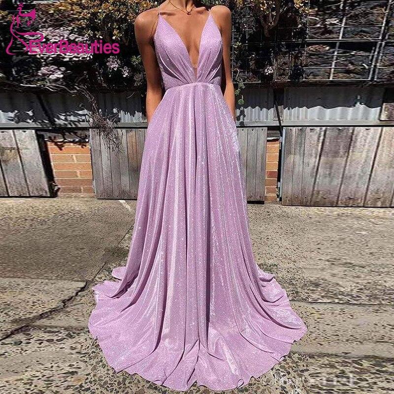 Abendkleider 2020 Evening Dress Long V-Neck Spaghetti Straps Robe De Soiree Sexy Backless Formal Dress Women Abiye Gece Elbisesi
