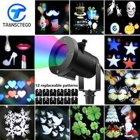 12 Patterns Christmas Laser Light Snowflake Projector Outdoor LED IP65 Waterproof Home Garden Star Lamp Decoration