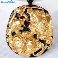 Gold Natural Black Obsidian Carving Gold toad Lucky Amulet Pendant For Women Men pendants Fashion Jewelry Wholesale JoursNeige