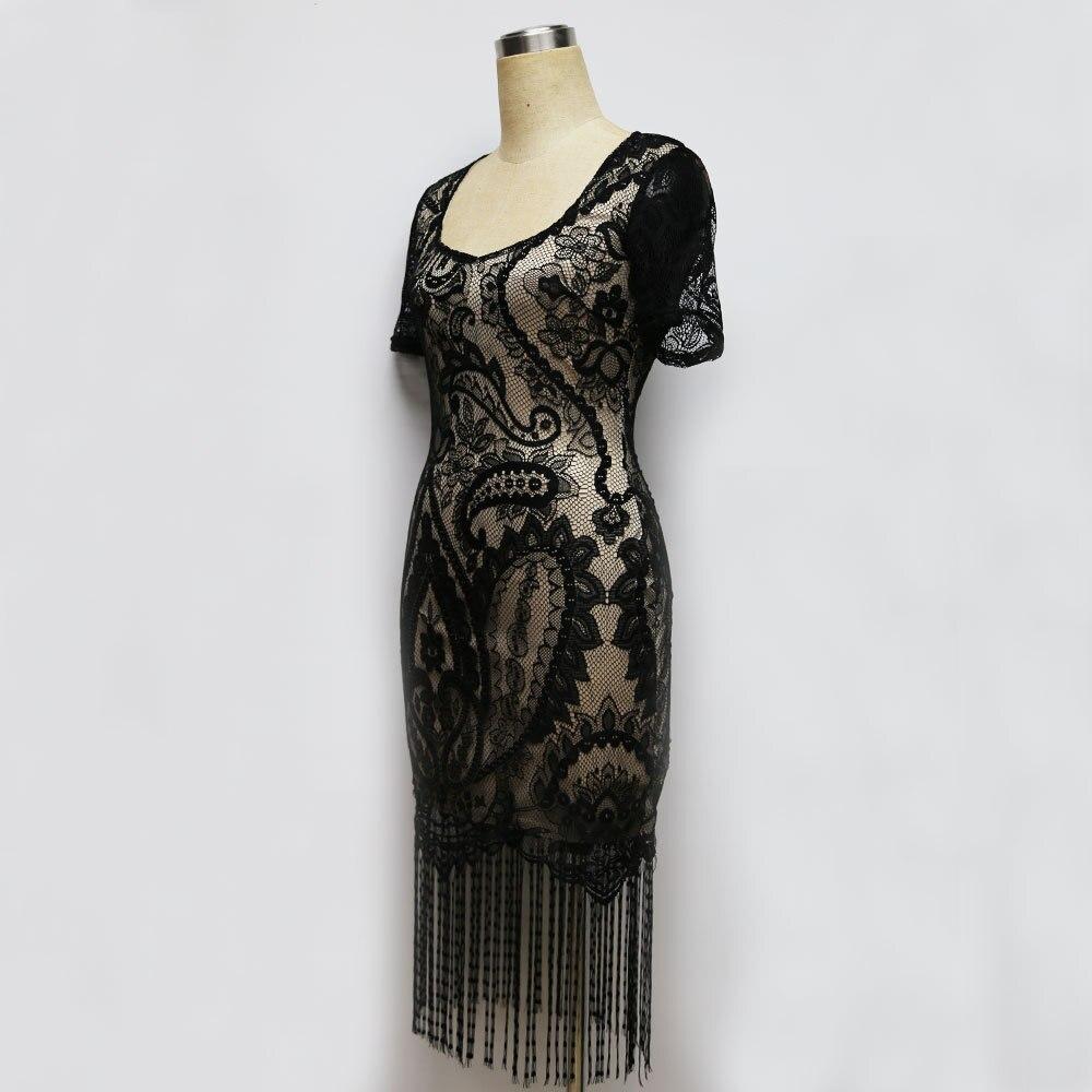 2018 sommer Sexy Spitze Quaste Vintage Party Kleider Patchwork ...