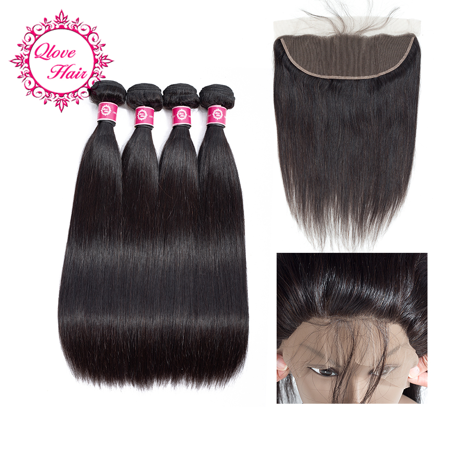QLove Pre-Colored 5 Pcs 100% Human Hair Non Remy Natural Color Indian Hair Straight 4 Bundles With 13*4 Lace Closure No Shedding