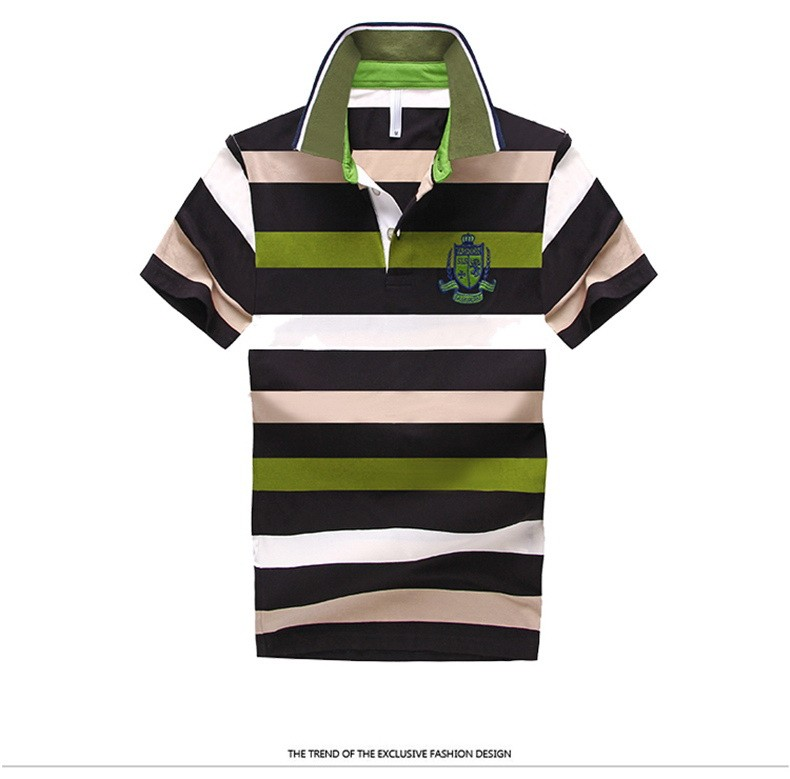 92% Cotton camisa Men Polo Shirt  2015 Casual Striped Slim short sleeves ASIAN SIZE M-4XL 16