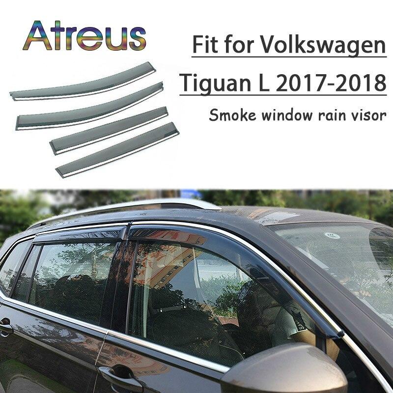 Atreus 1set ABS For VW Volkswagen Tiguan 2018 2017 MK2 Accessories Car Vent Sun Deflectors Guard Smoke Window Rain Visor