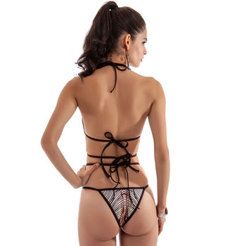Glane Patterned String High Waisted Monokini  2