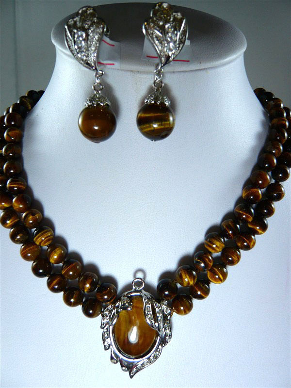 Jolis bijoux de mariage pour femmes 2 couleurs! collier en pierre naturelle à œil de tigre de 2 rangées 8mm + boucles d'oreilles à clip pendentif 18KGP - 2