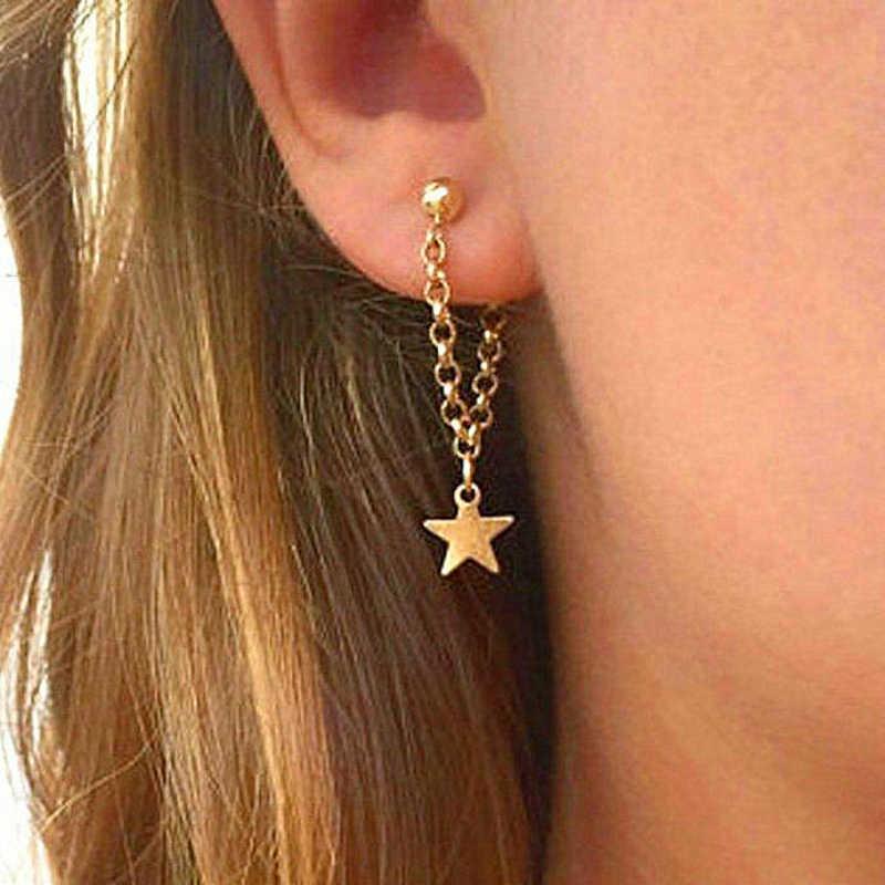Лидер продаж Серьги Личность Простой пятиконечная звезда с кисточкой из металлических цепочек серьги для женщин модные украшения оптовая продажа Brincos