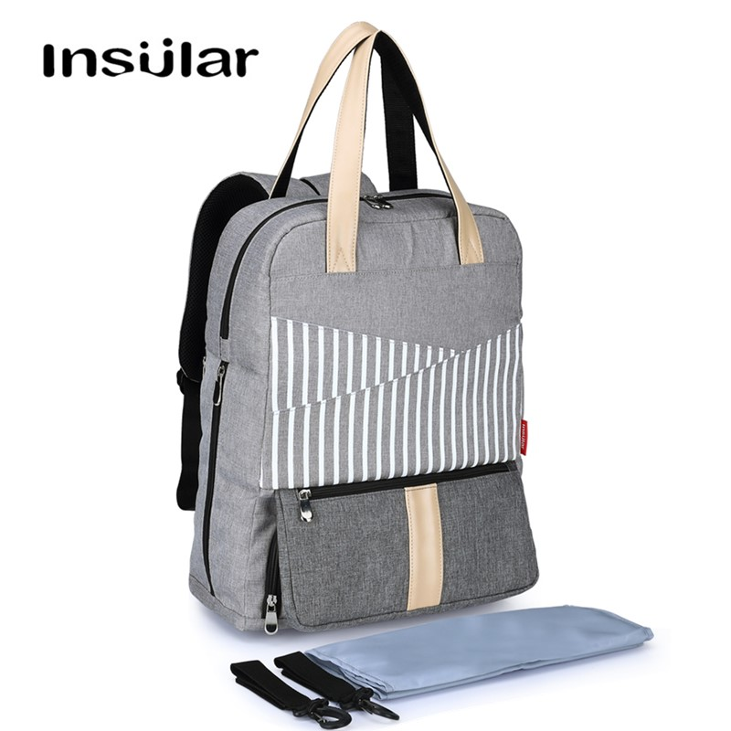 Insular Baby Bag for Mums with Changing Mat and Stroller Straps Large Waterproof Baby Chic Diaper Changing Bag Beige