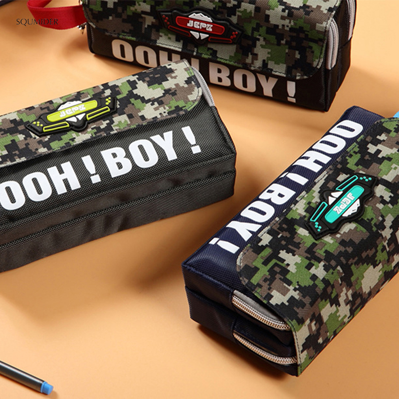 Creative High Capacity Pencil Case Camouflage Style Cartoon Pen Bag Simple Bag For Boy Students School Stationery  Supplies