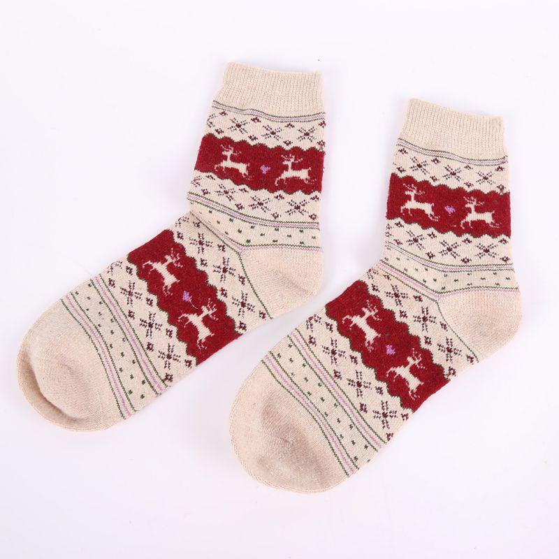 Christmas Gift Snowflake Deer Women Wool Socks Warm Winter Novelty Sock Filler Xmas Gift New Sale