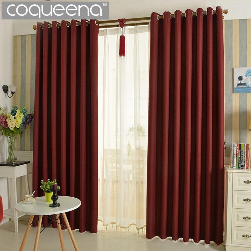 ⑥Lino grueso cortina aislada termal Cortinas para sala dormitorio ...