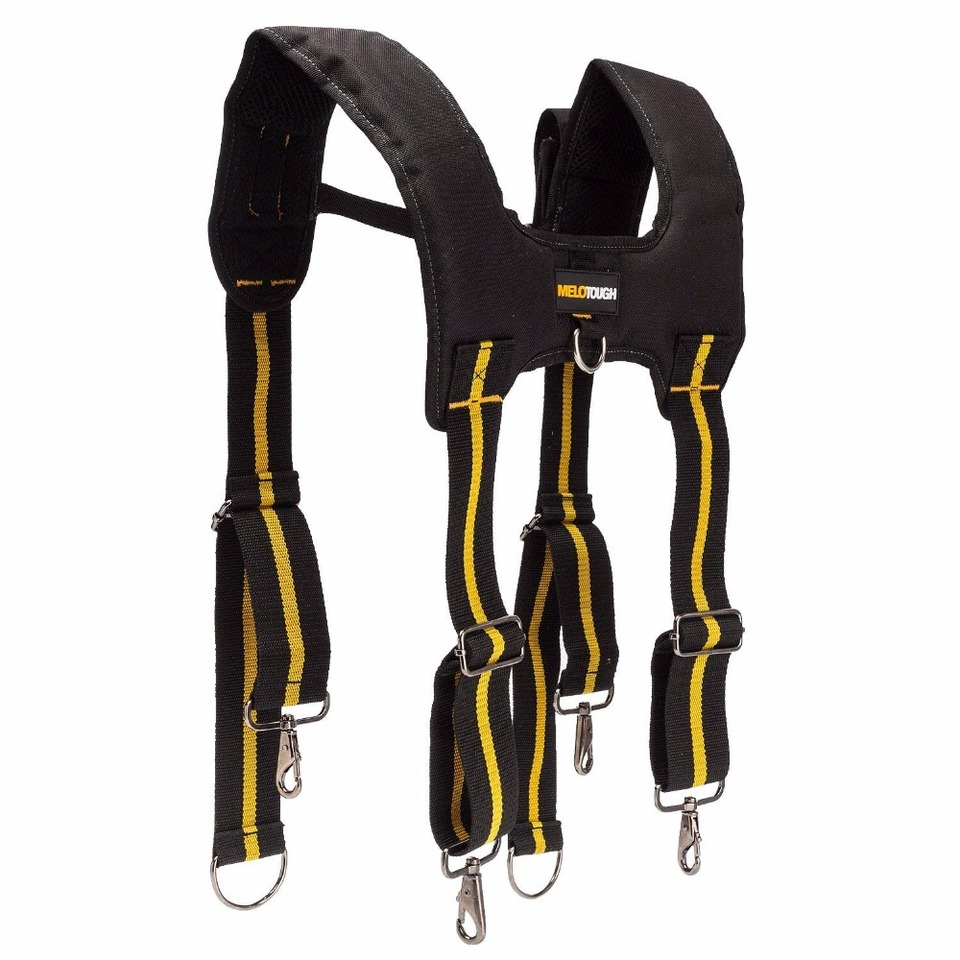Padded Tool Belt Harness Suspenders with Adjustable Shoulder Straps Universal Work Suspenders with Pencil Case and Phone Holder Tool Belt Suspenders