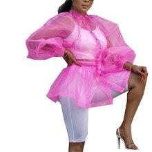 Tulle Transparent Sexy Blouses Women Tops Lantern Sleeves See Through Elegant Shirts Ladies Fashion Casual Blusas