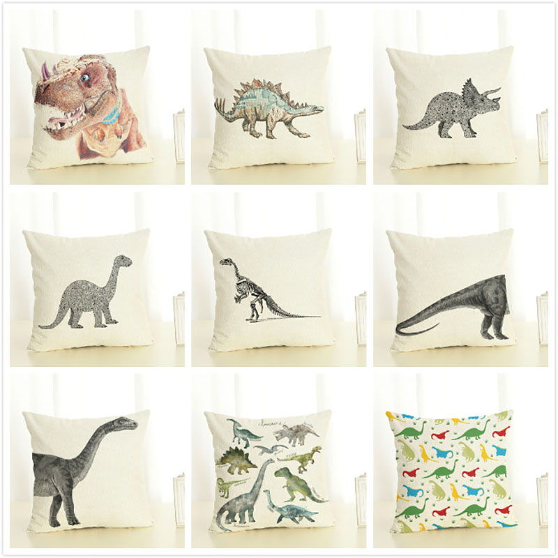 Cushion Cover 45x45cm Pillow Cases Home Decor Animals Dinosaur Tyrannosaurus Rex Printing Cotton Linen Pillowcases