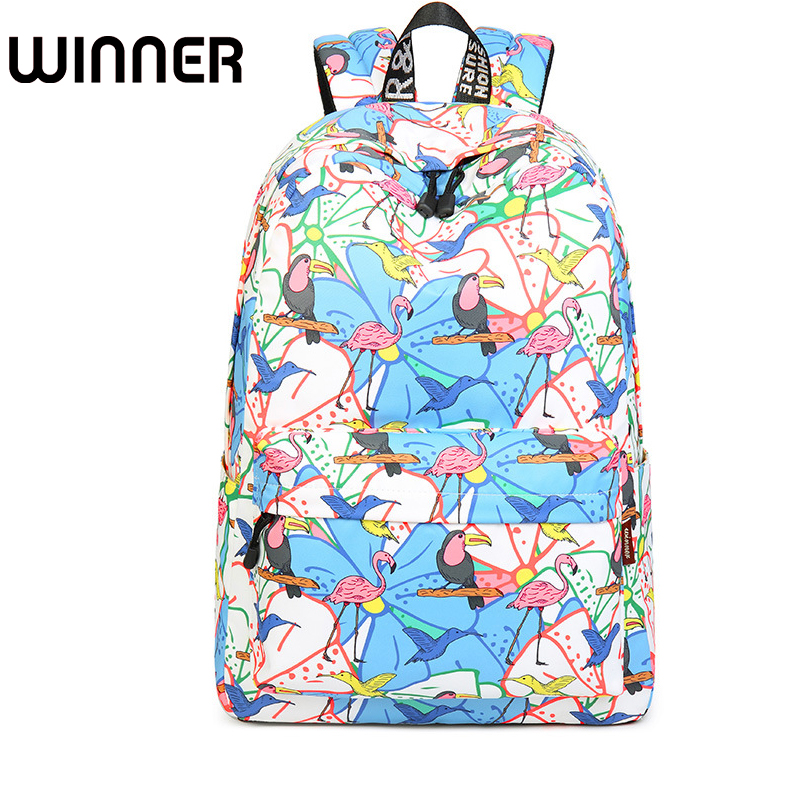 Fashion 15.6 Inch Waterproof Fabric Women Backpack Cute Birds Pattern Printing Large Capacity Female Latop Bookbags fashion 15 6 inch waterproof fabric women backpack pink cute sushi cuisine pattern printing large capacity girls bookbags