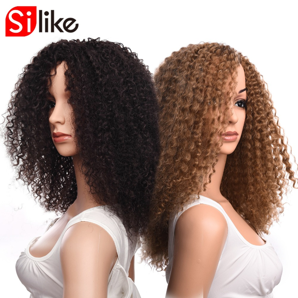 Silike Afro Kinky Curly Wigs 18 Inch Medium Brown Synthetic Long Wigs for Black Women African Deep Curl Hairstyle