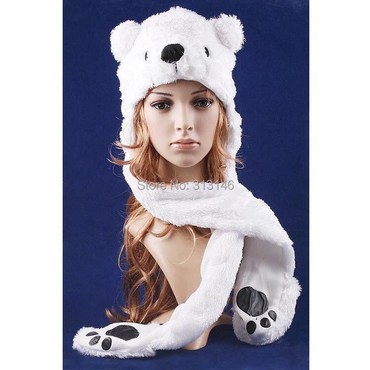 Plush Polar Bear Animal Hat with Scarf /& Mittens