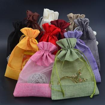 "30pcs Handmade Organza Jute Gift Bag 5""x7"" Burlap Party Favor Sack Bag Linen Jute Drawstring Pouch Jewelry Gift Candy Bag"