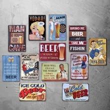 Cartel de hojalata Vintage Bar decoración de pared de hogar y bares Retro Metal cartel de hombre cueva NO funciona durante las horas de la bebida