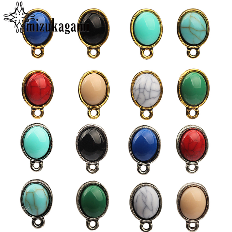 2017 New Fashion 10pcs/lot Turquoise Oval Earring Base Earring Connector For DIY Earrings Accessories2017 New Fashion 10pcs/lot Turquoise Oval Earring Base Earring Connector For DIY Earrings Accessories