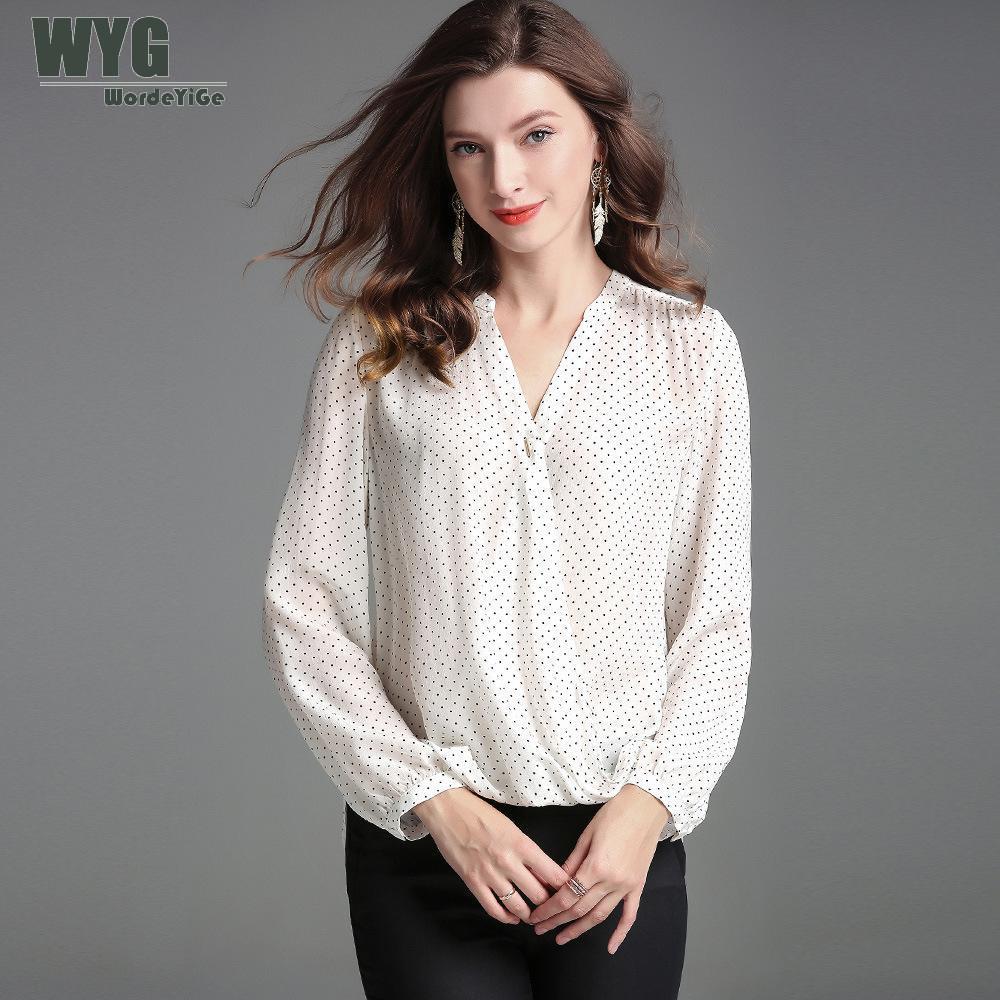 b2a0eddad Primavera Blusa Moda Dama De Negro Dot Estilo Blanco Larga Camisa ...